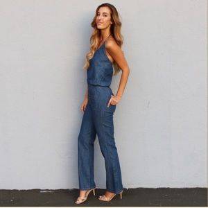Chambray halter jumpsuit